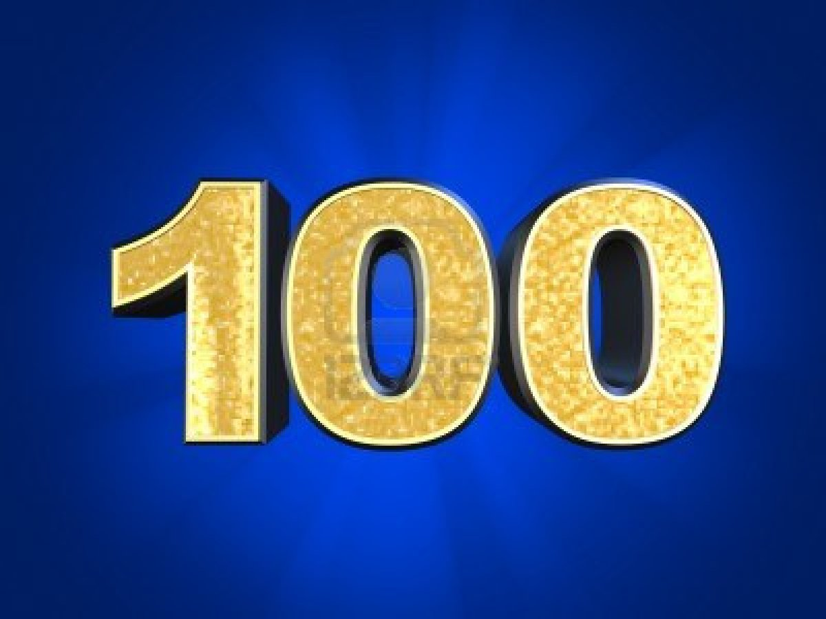 Рыбок анимация, цифра 100 в картинках