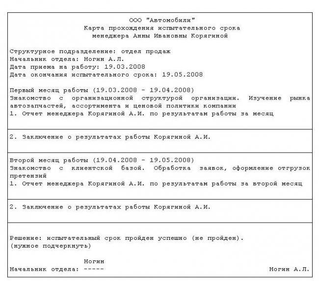 индивидуальный план прохождения срока испытания