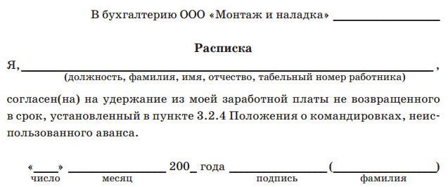 Образец расписки - 21380