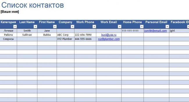 список сотрудников организации образец Excel - фото 2