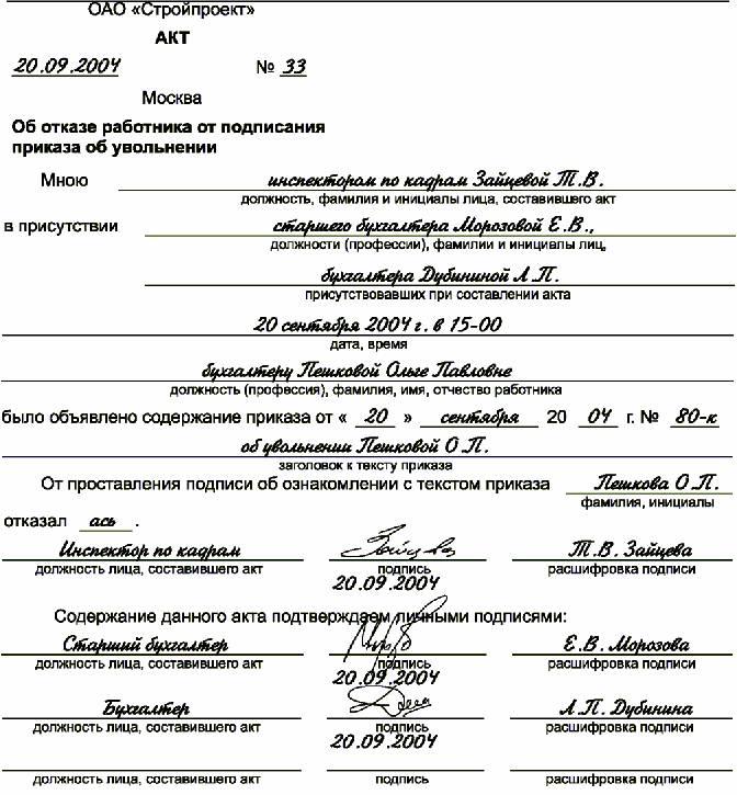 акт о неподписании трудового договора образец