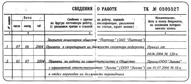Ознакомление работника с записями в трудовой книжке.