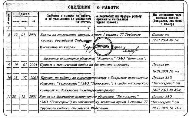 Пример записи о работе по совместительству (с нарушением хронологии)