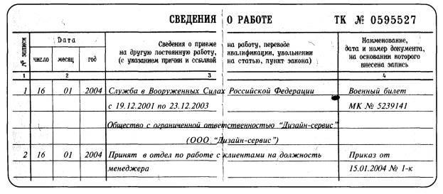 Пример записи о времени военной службы