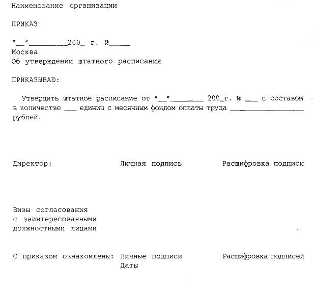 приказ об установлении штатного расписания образец