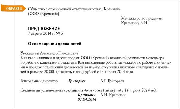 Образец приказа о возложении обязанностей на время отсутствия основного работника