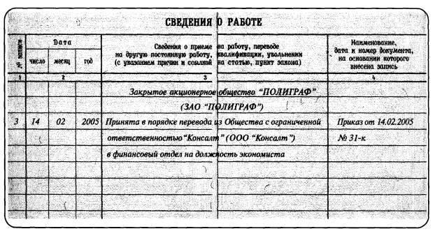 Увольнение в порядке перевода запись в трудовую книжку откроете