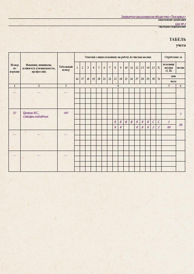 Табель календарь скачать - Табель календарь для расчета рабочего времени на 2009 год.