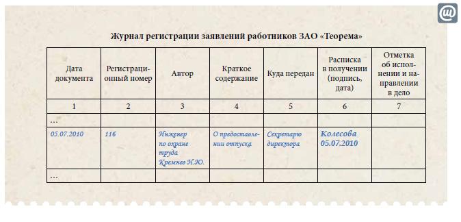 если Регистрация заявлений работников Потому