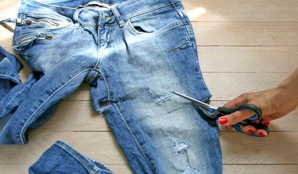 Как из джинс сделать шорты с потертостями