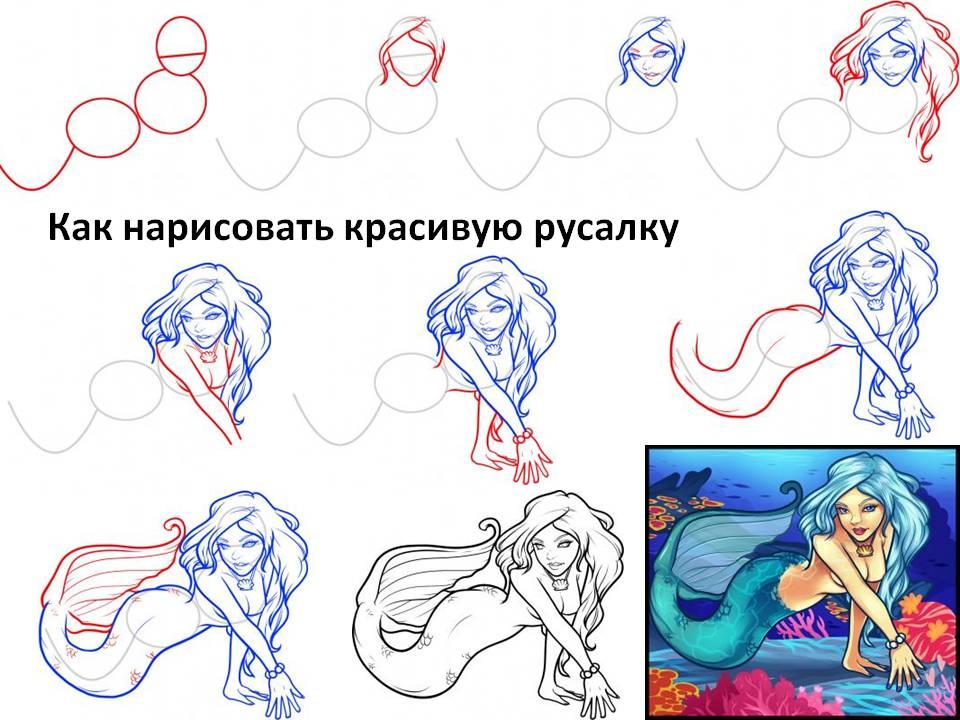 Видео урок как нарисовать русалку