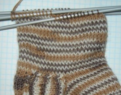 Вязание носка до мыска