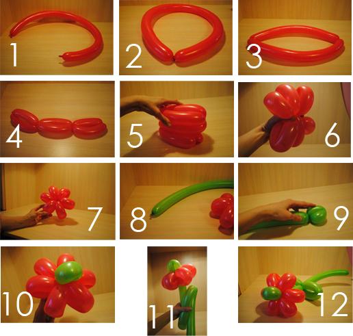 182Как сделать цветок из шариков