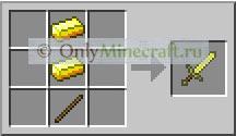 Как сделать золотой меч в Майнкрафте?
