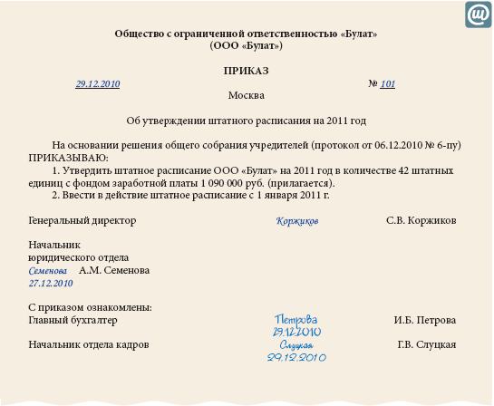 приказ к штатному расписанию образец - фото 9